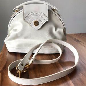 Vintage white leather handbag Europa